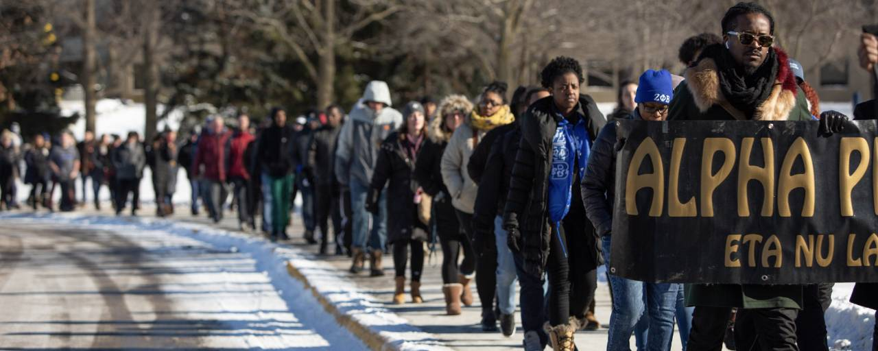silent march through campus on MLK day